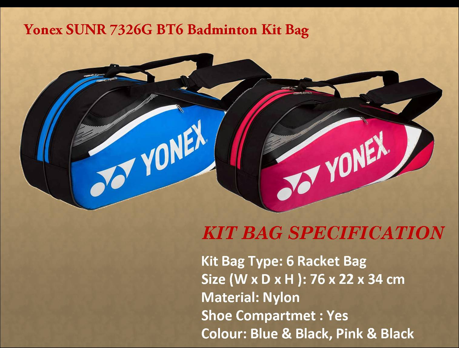 Yonex SUNR 7326G BT6 Badminton Kit Bag