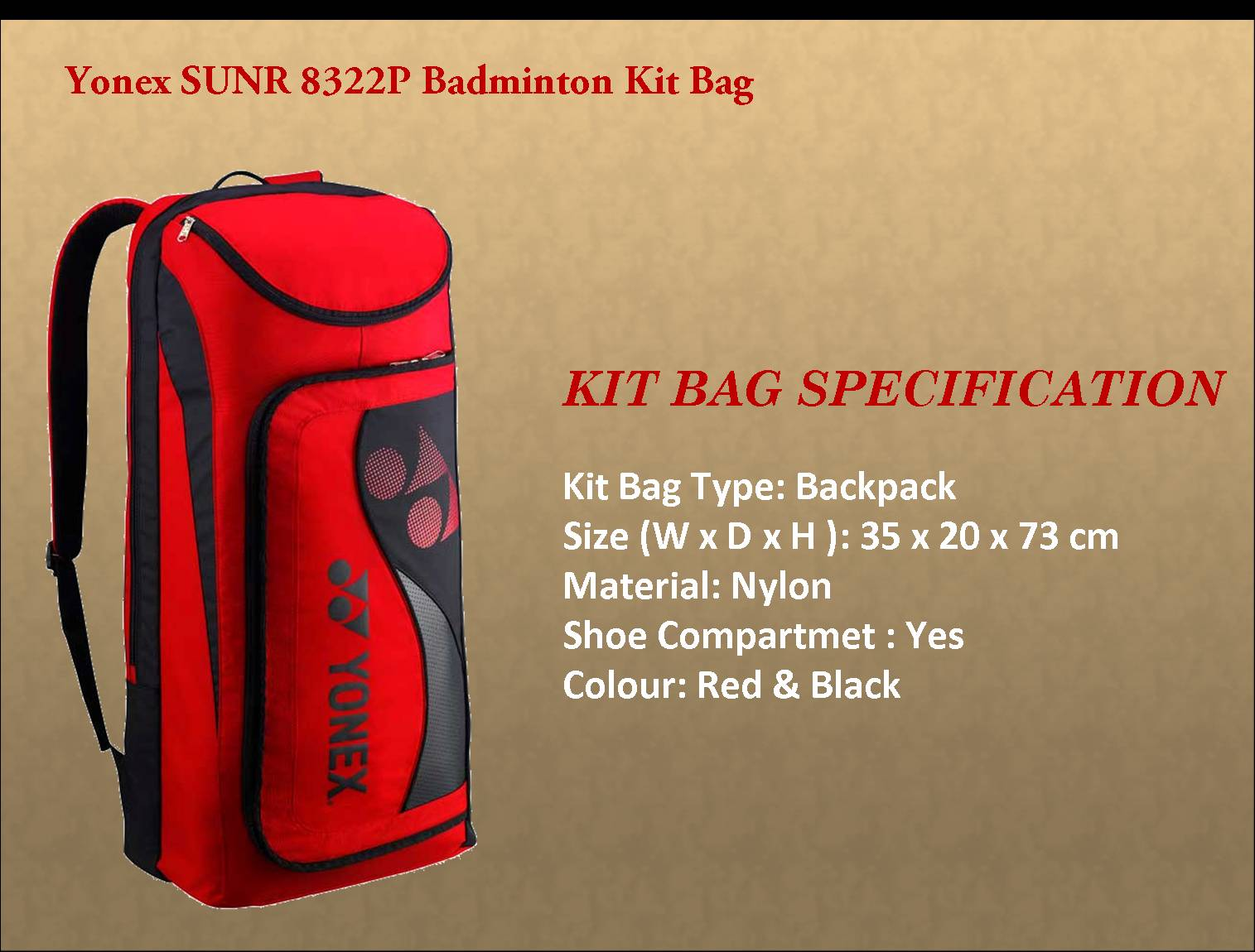 Yonex SUNR 8322P Badminton Kit Bag