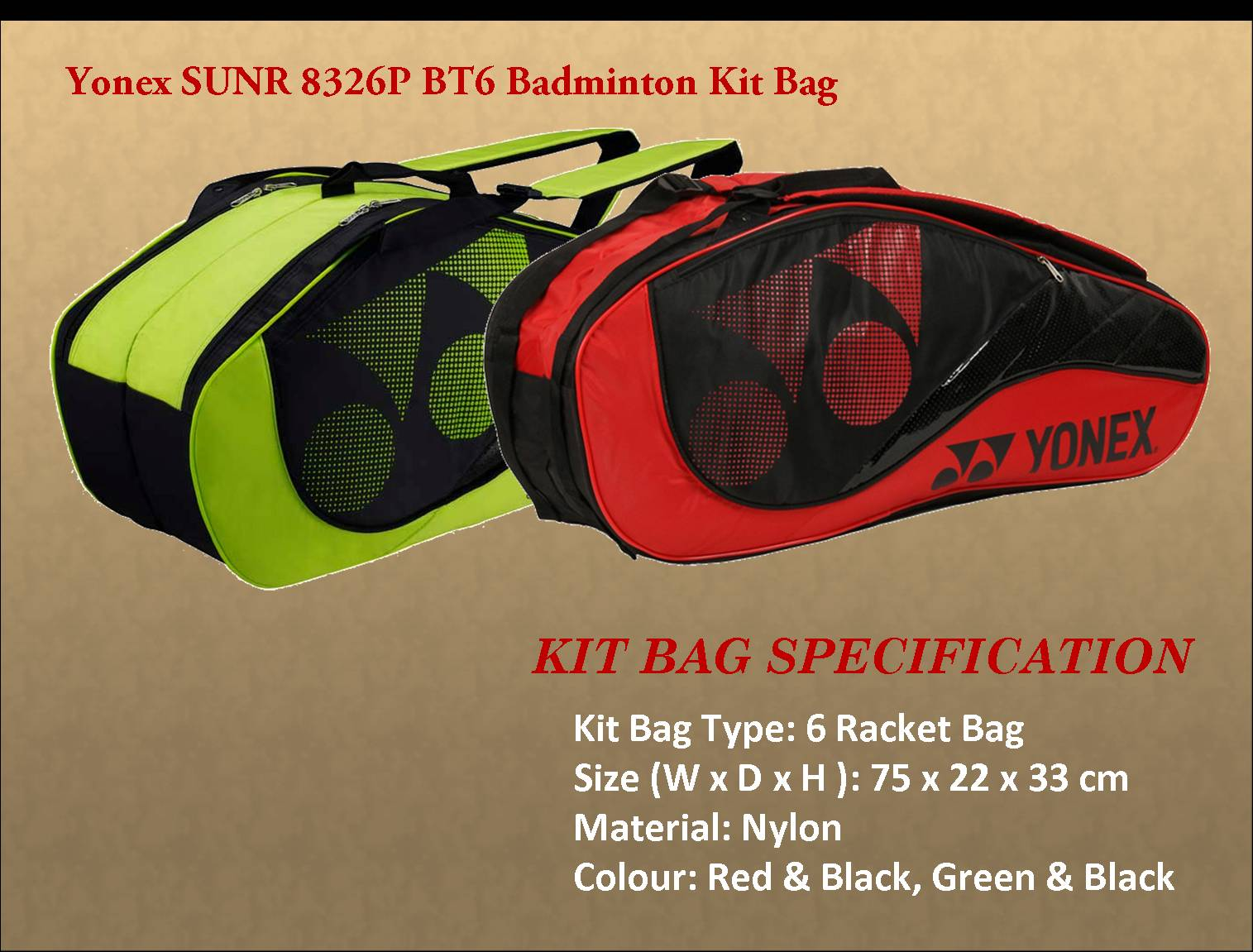 Yonex SUNR 8326P BT6 Badminton Kit Bag