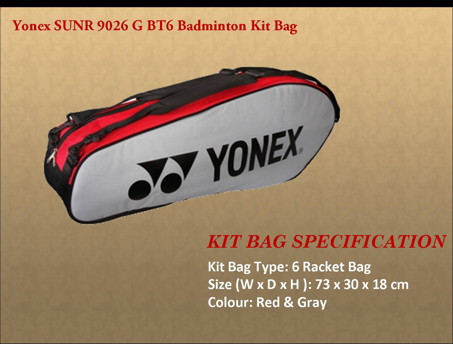 Yonex SUNR 9026 G BT6 Badminton Kit Bag