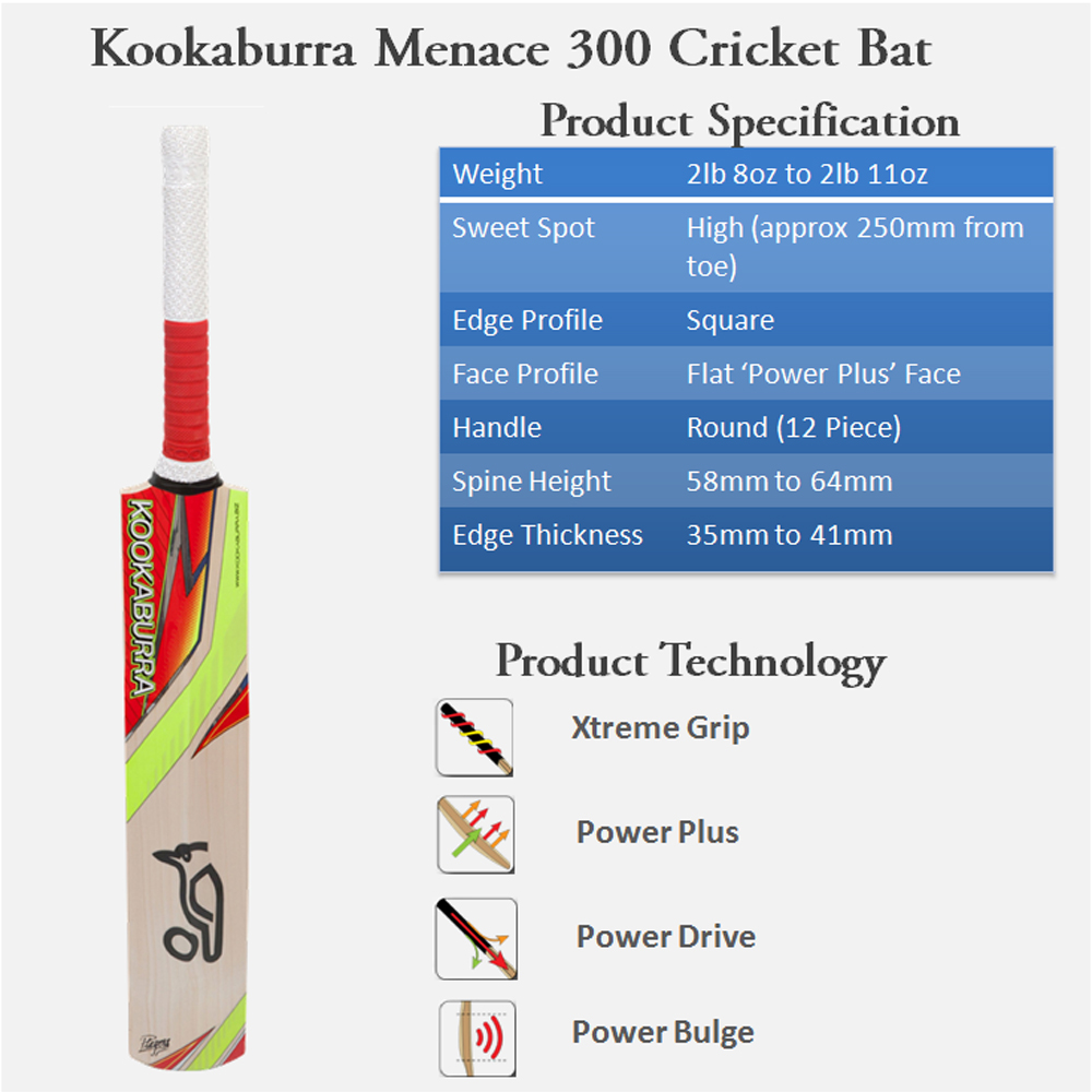 Kookaburra Menace 300 English Willow Cricket Bat
