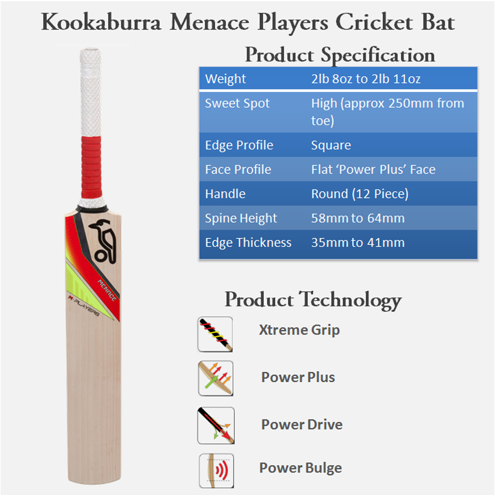 Kookaburra Menace Players Cricket Bat