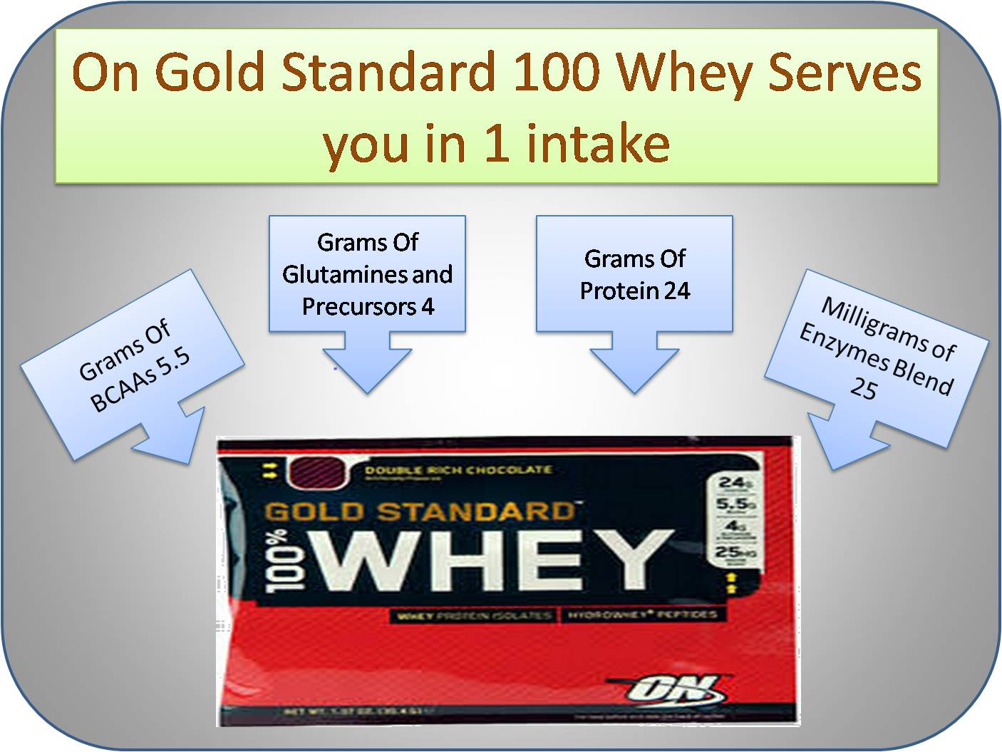On Gold Standard 100 Whey Serves you in 1 Intake