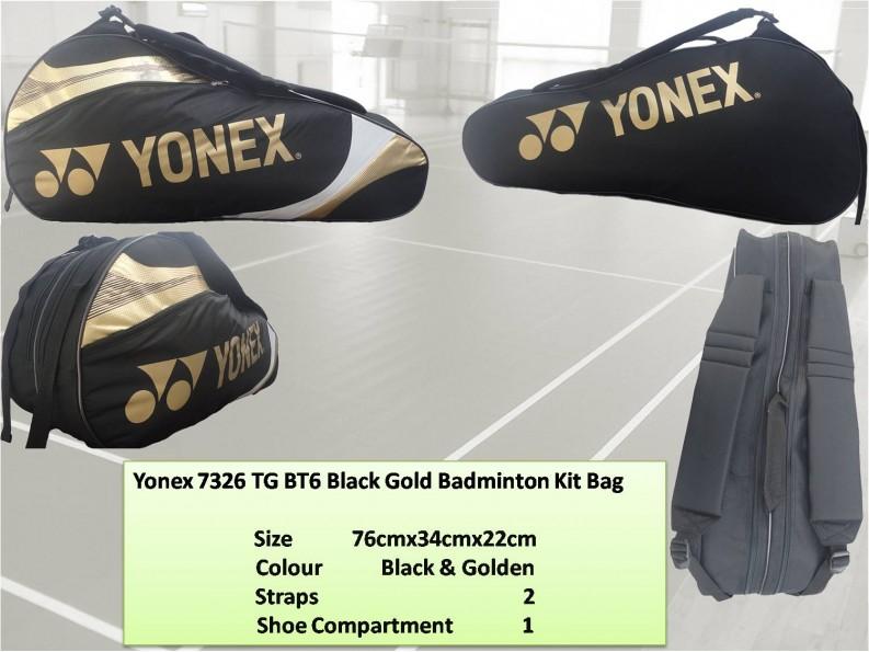 Yonex-7326-TG-BT6-Black-Gold-Badminton-Kit-Bag