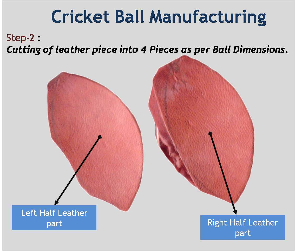 Cricket Ball Manufacturing Cutting of leather piece into 4 Pieces