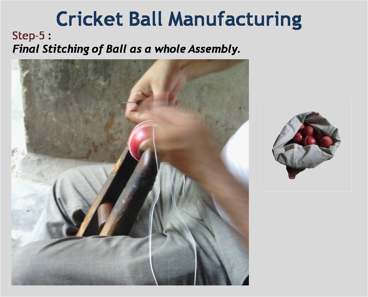 Cricket Ball Manufacturing Final Stitching of Ball