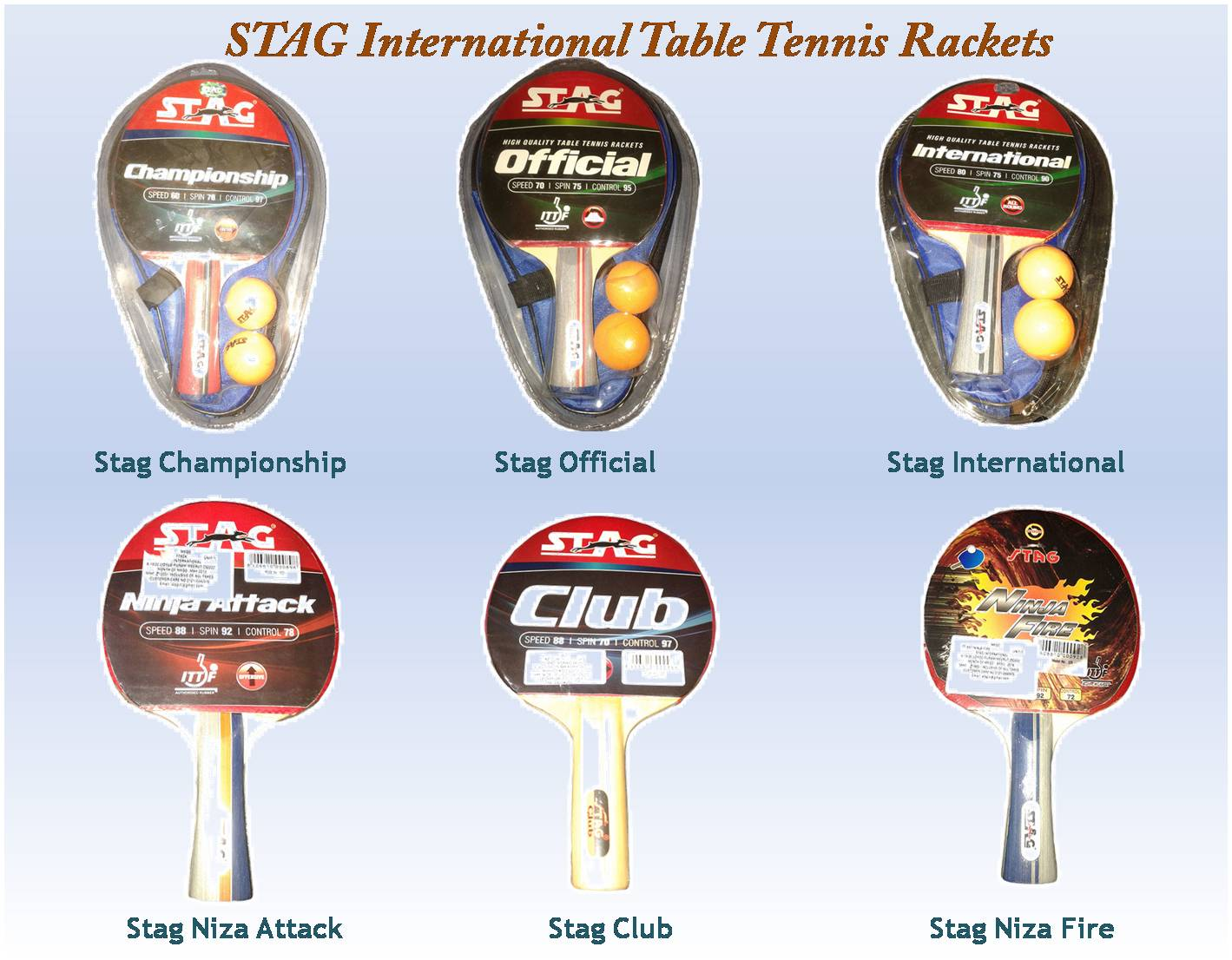 Stag International Series Of Table Tennis Rackets Khelmartorg - International ping pong table