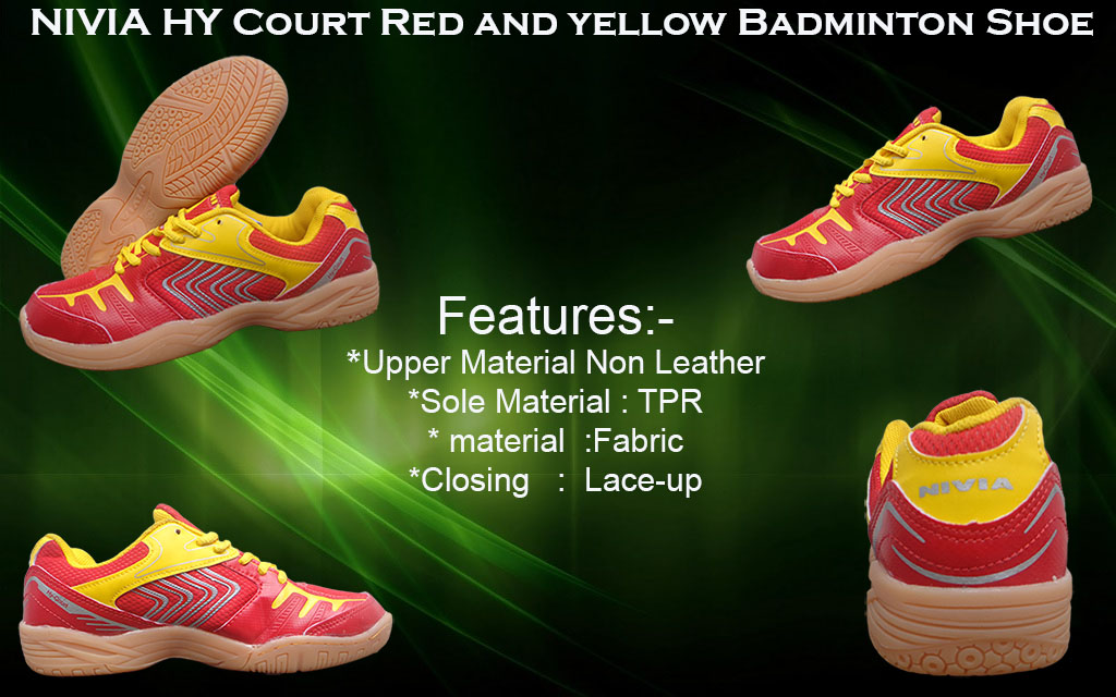 About Nivia Hy Court Red – Yellow Badminton Shoes