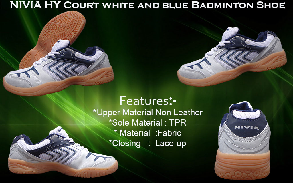 About Nivia Hy Court White– Blue Badminton Shoes