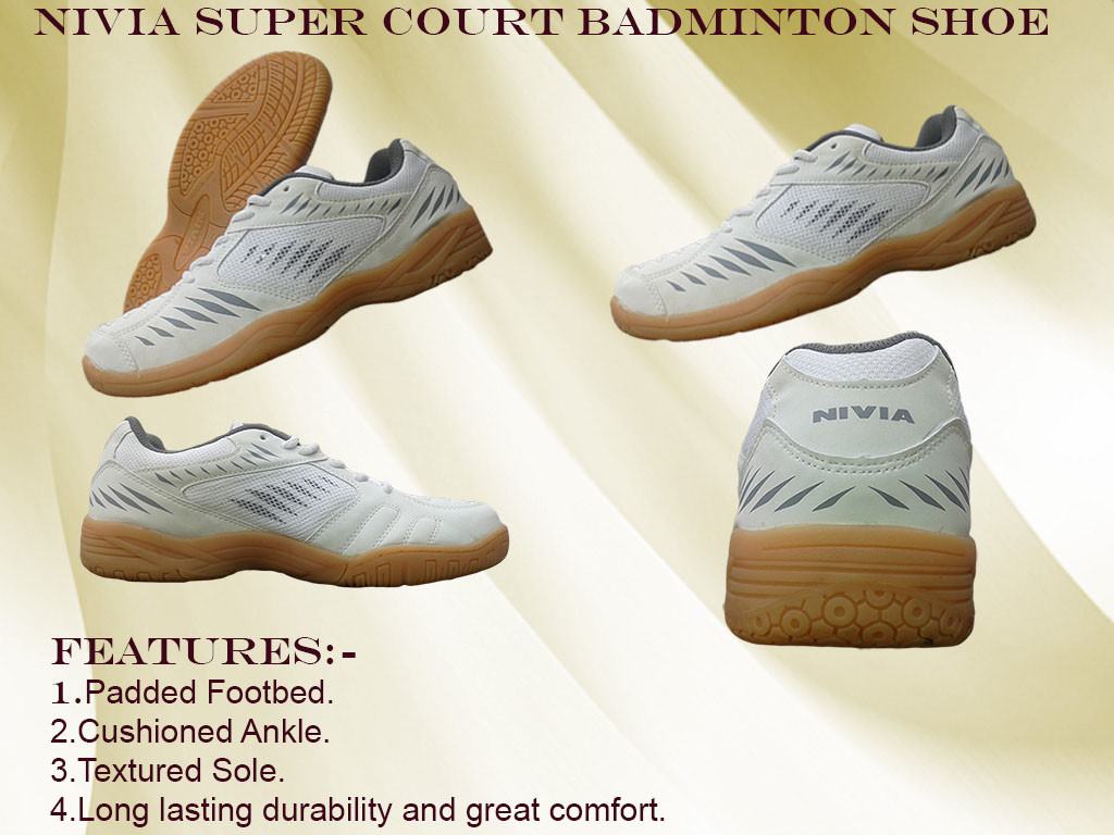 About Nivia Super Court White-Gray Badminton Shoes