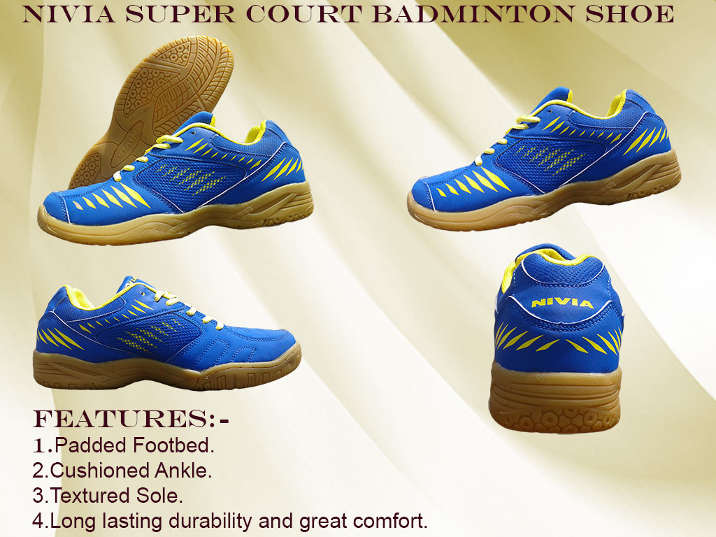 About Nivia Super Court Blue-Yellow Badminton Shoes