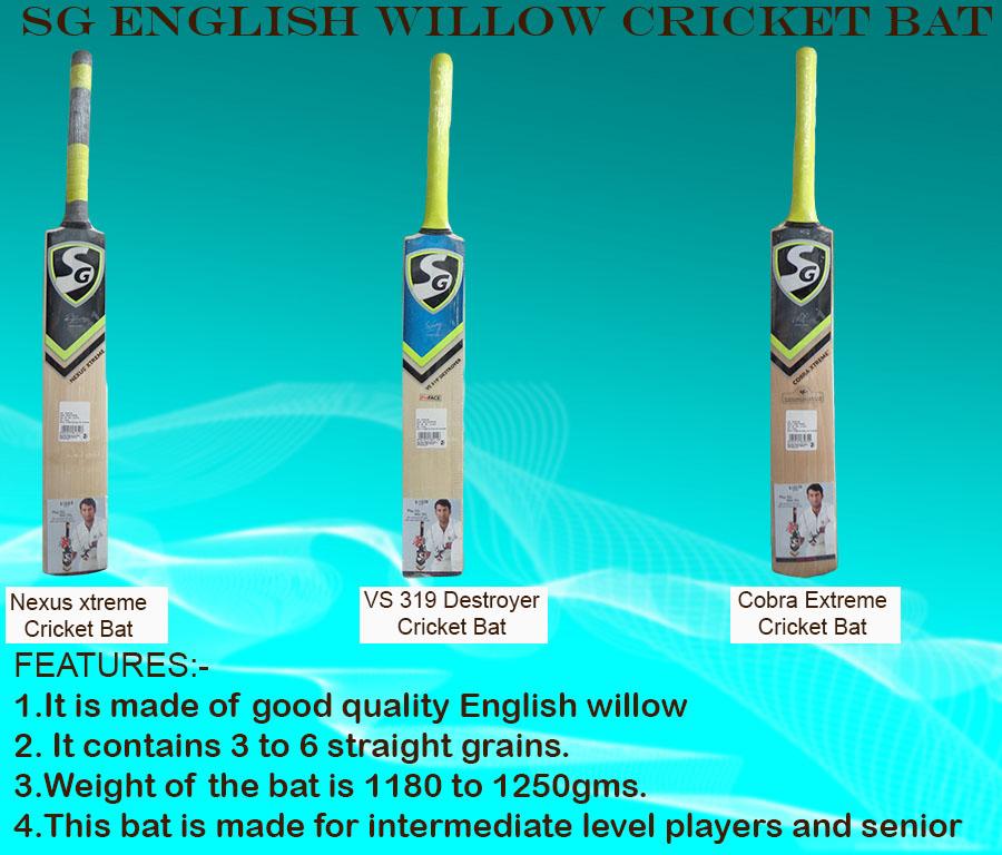 SG English willow cricket bats