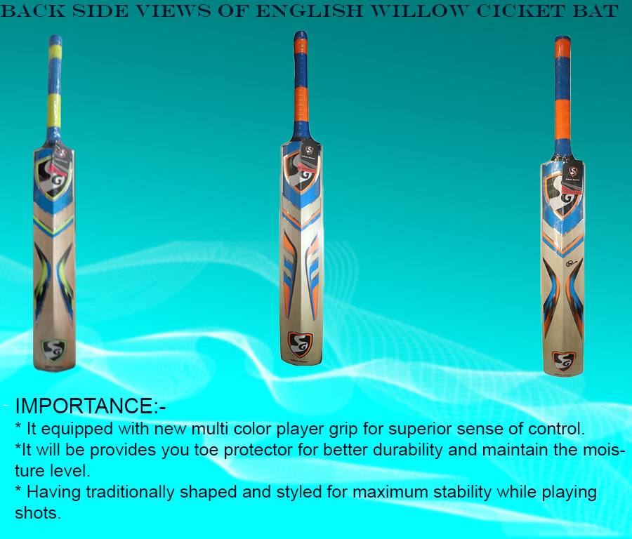 Intermediate back side views of SG English Willow cricket bats
