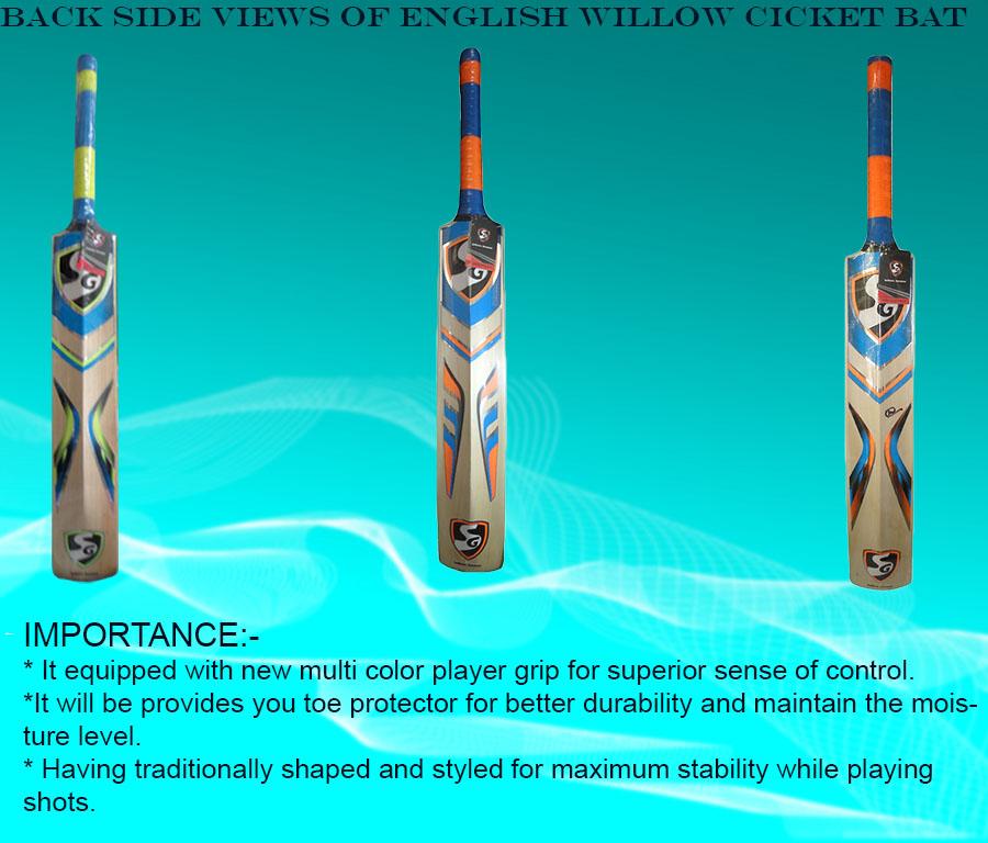 Intermediate back side views of SG English Willow cricket bats