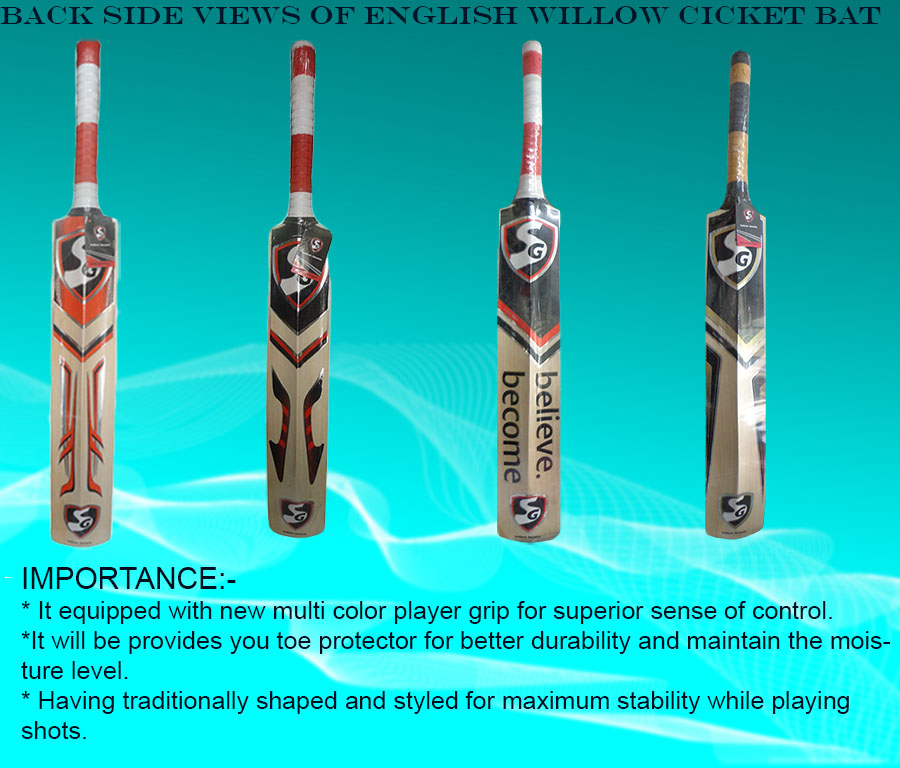 Top back side views of SG English willow cricket bats