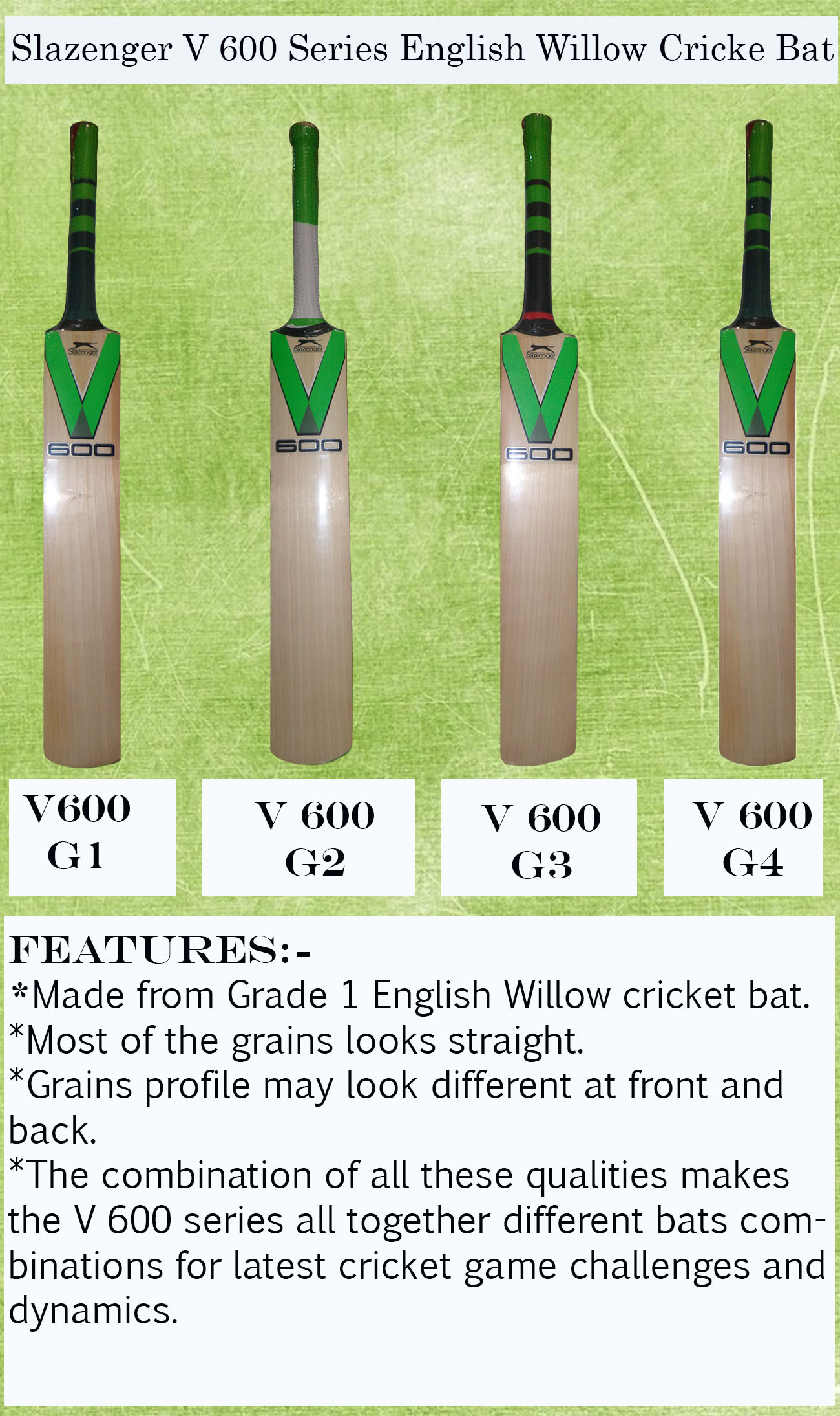 Slazenger V 600 Series English Willow Cricket Bats