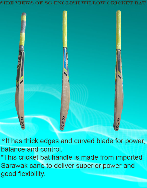 Side view of SG English willow cricket bats