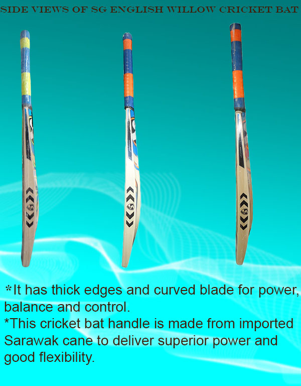 Intermediate side views of SG English Willow cricket bats