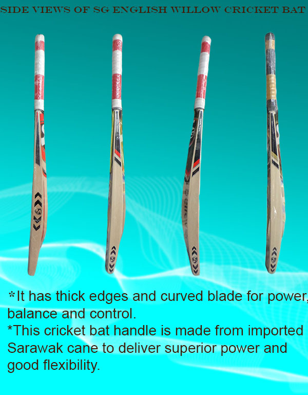 Top side views of SG English willow cricket bats