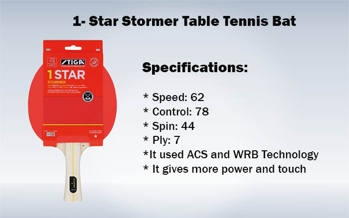 1- Star Stormer Table Tennis Bat
