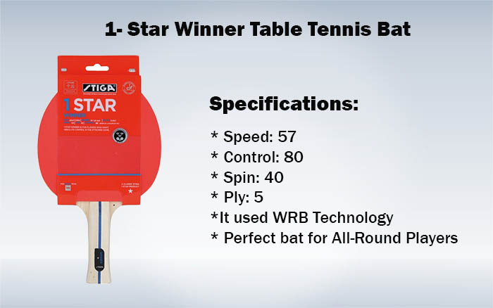 1- Star Winner Table Tennis Bat