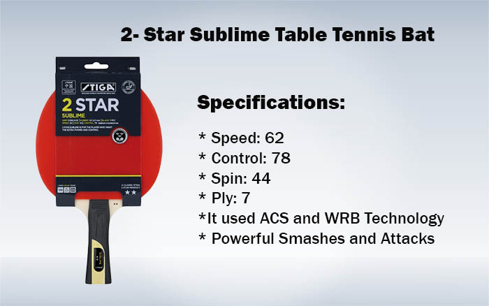 2- Star Sublime Table Tennis Bat