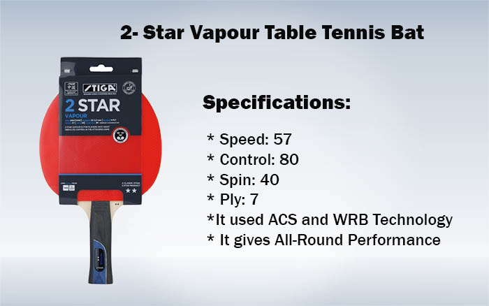 2- Star Vapour Table Tennis Bat