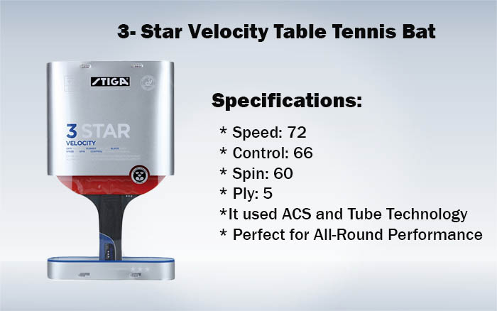 3- Star Velocity Table Tennis Bat