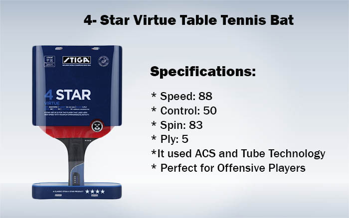 4- Star Virtue Table Tennis Bat