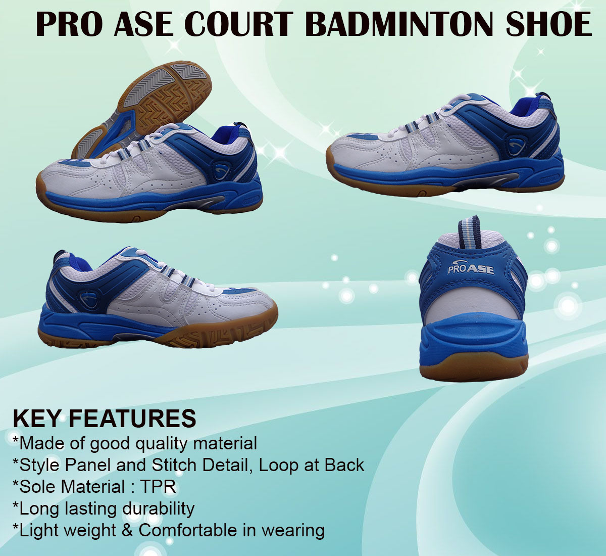 PRO ASE COURT BADMINTON SHOE_blue & white