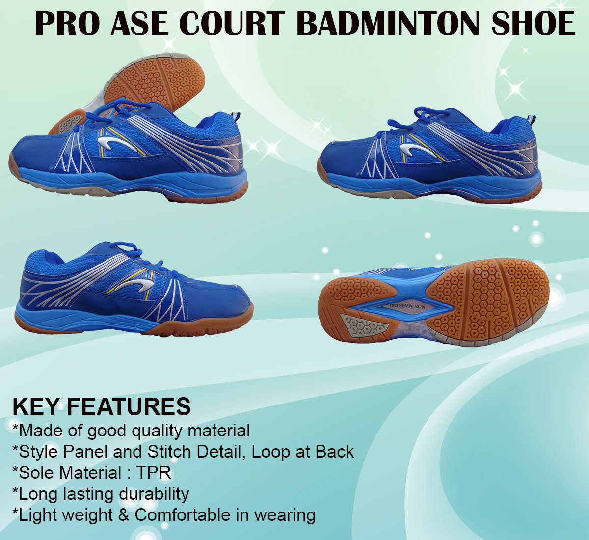 PRO ASE COURT BADMINTON SHOE_blue & gray