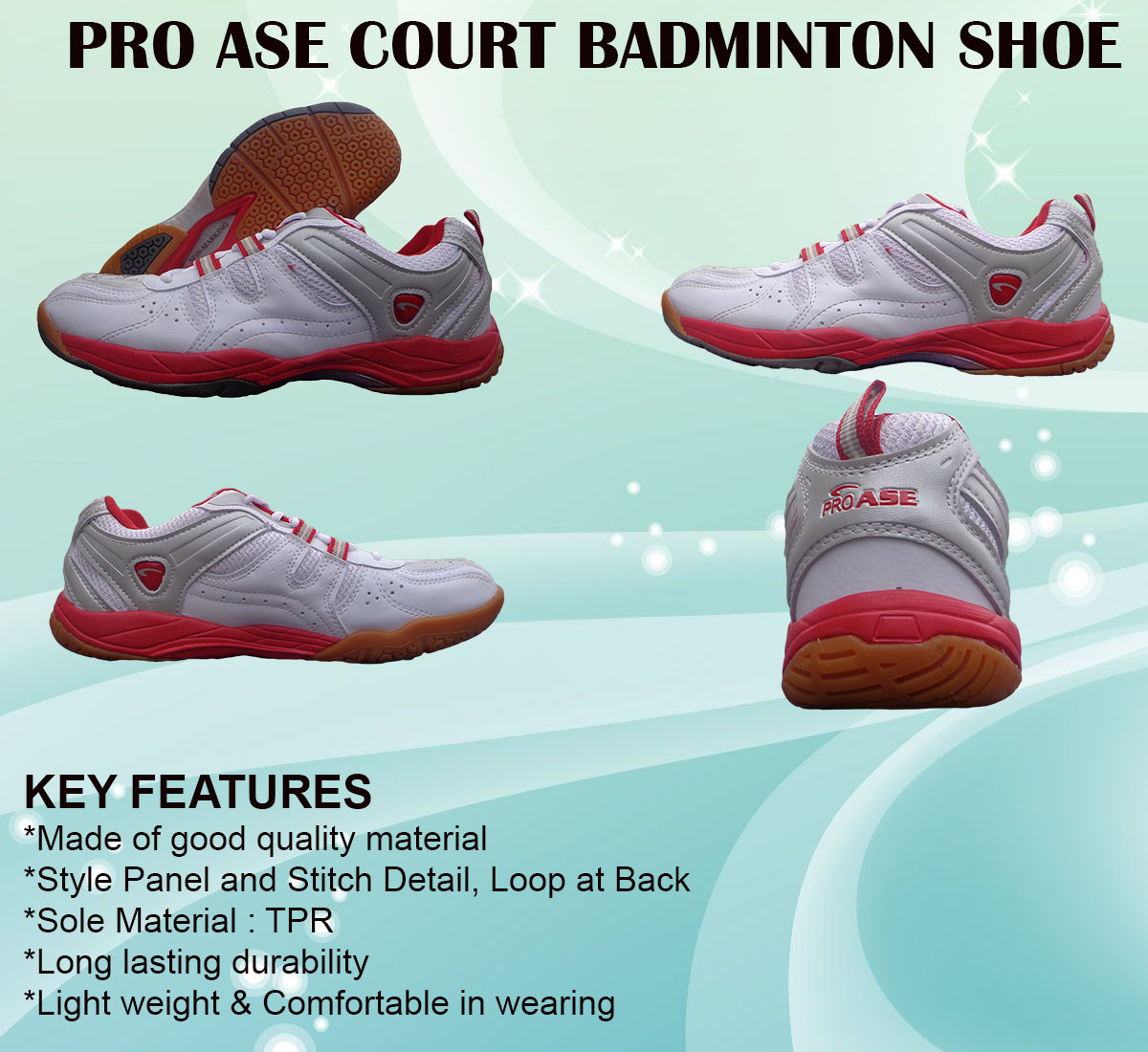 PRO ASE COURT BADMINTON SHOE_red & white