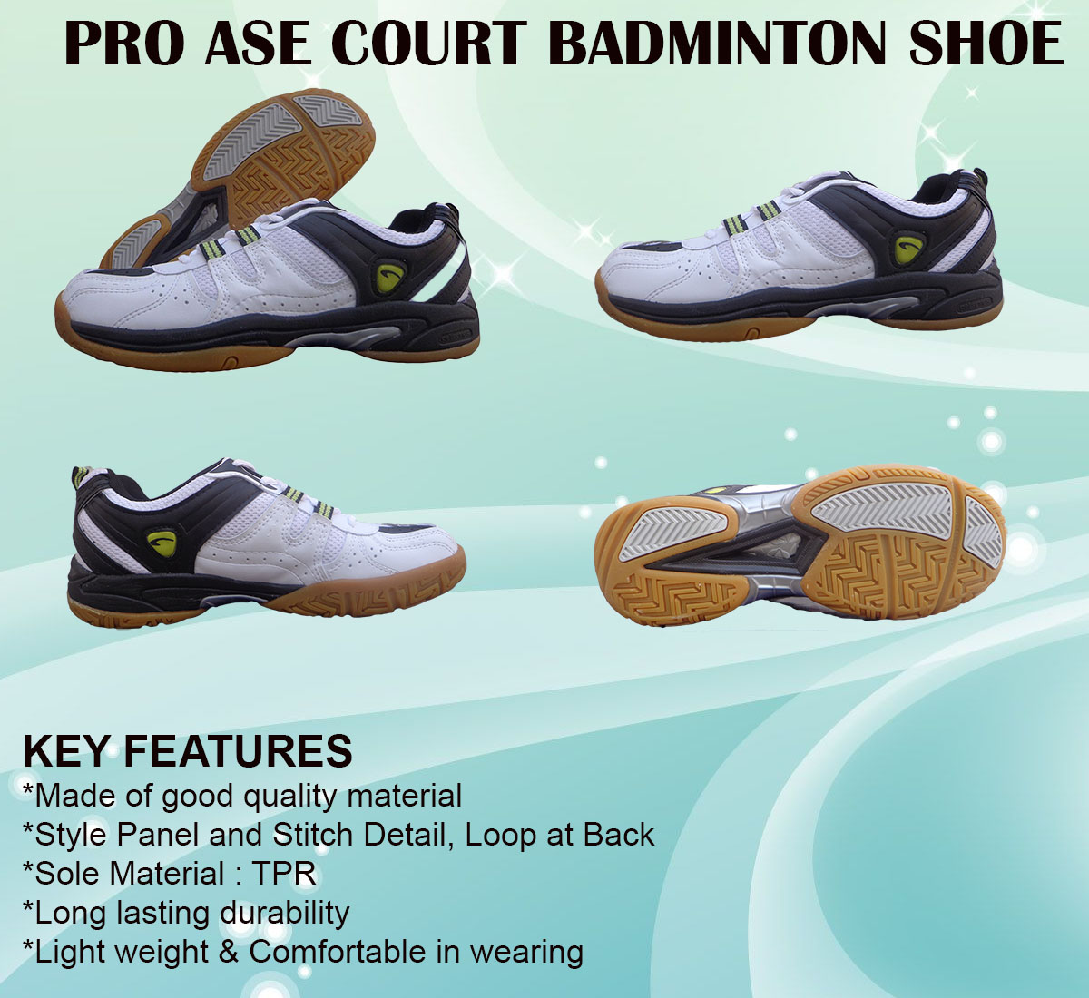 PRO ASE COURT BADMINTON SHOE_white & black