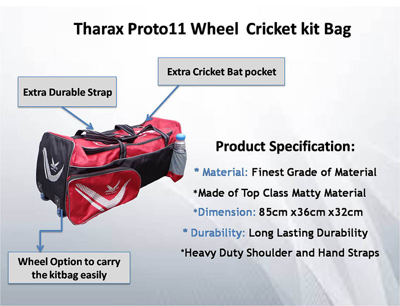 Tharax Proto11 Wheel Cricket Kit Bag