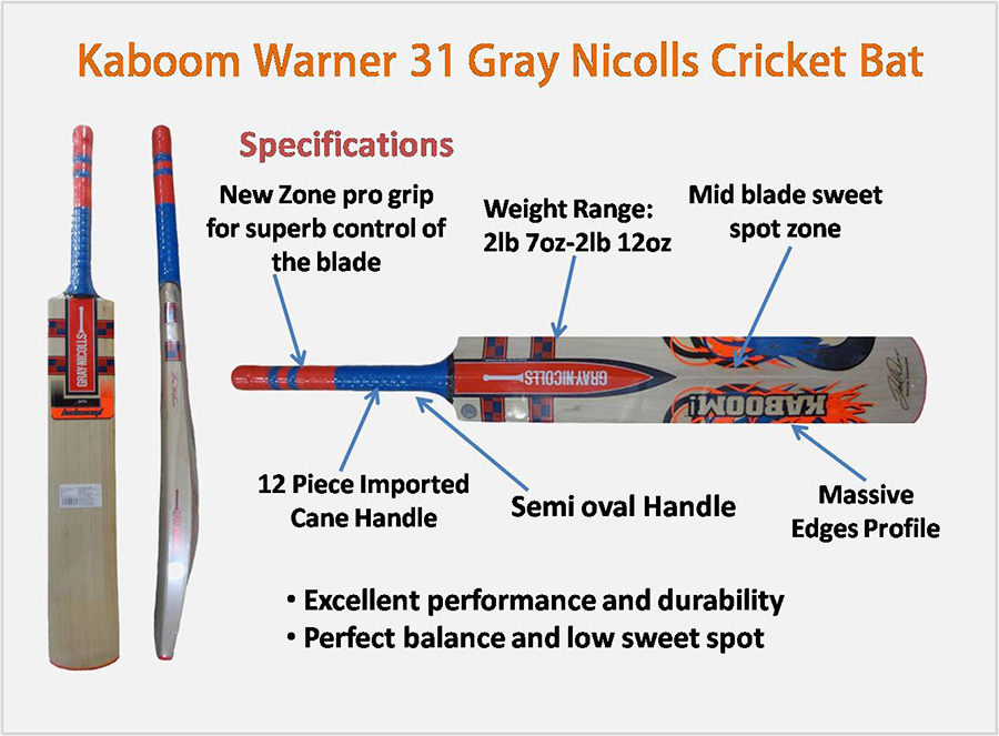 Kaboom Warner 31 Gray Nicolls Cricket Bat