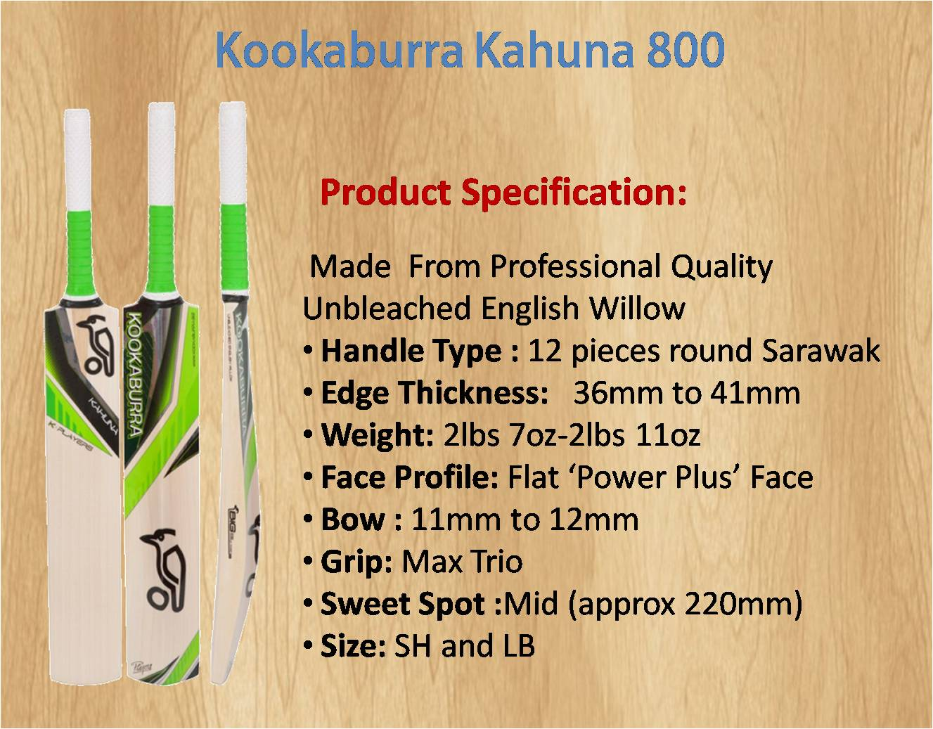 Kookaburra Kahuna 800 Cricket Bat