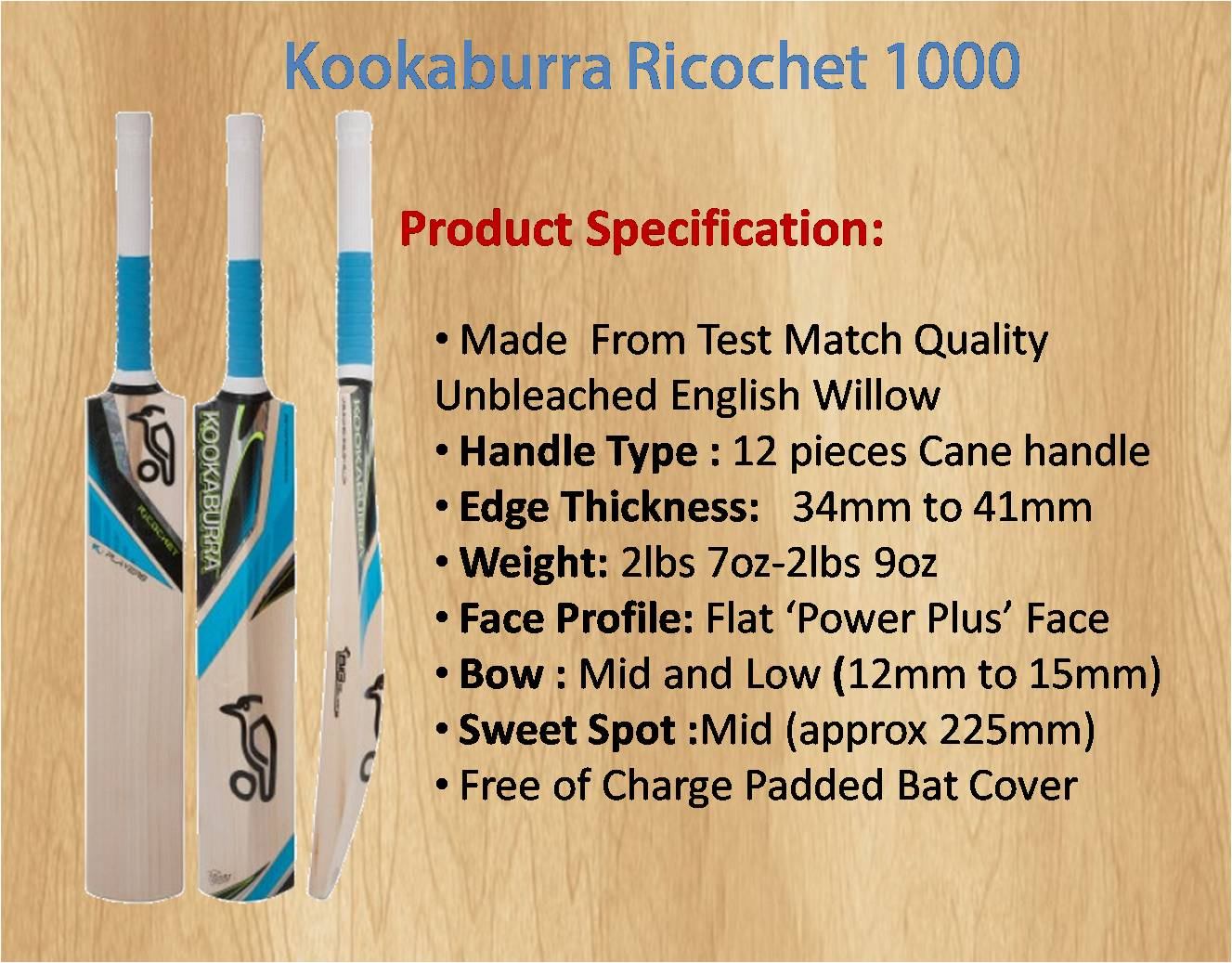 Kookaburra Ricochet 1000 Cricket Bat