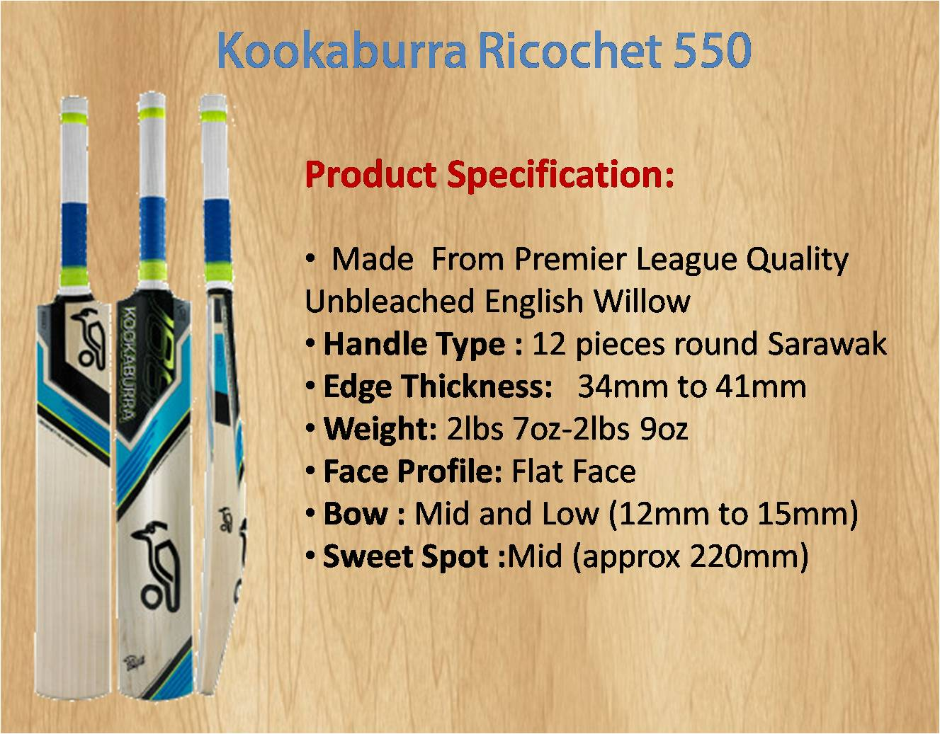 Kookaburra Ricochet 550 Cricket Bat