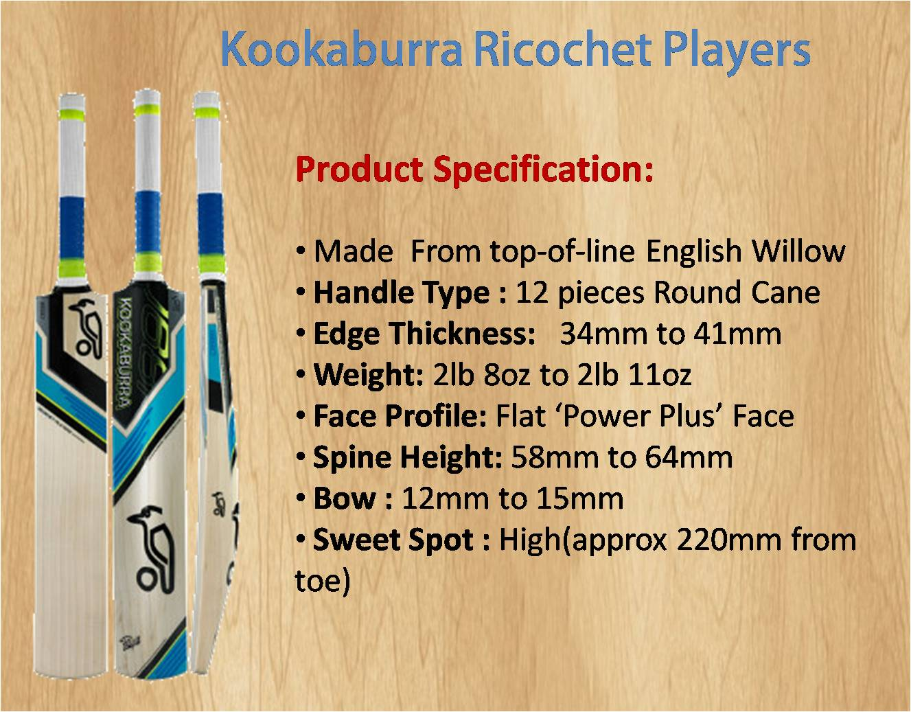 Kookaburra Ricochet Players Cricket Bat