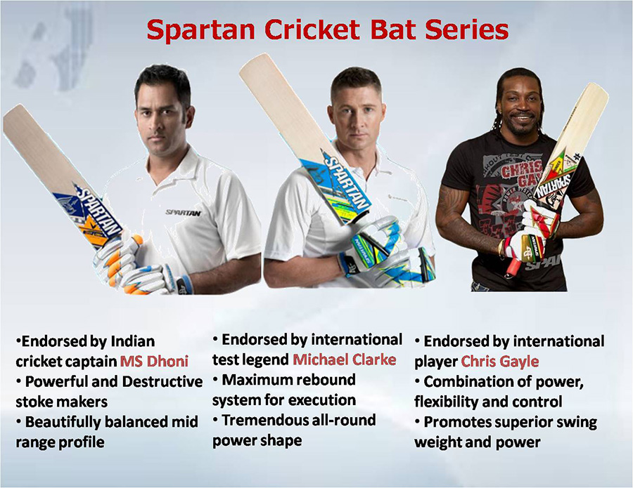 Spartan Cricket bats Ambassadors of different players