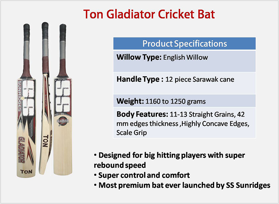 Ton Gladiator SS English Willow Cricket Bat