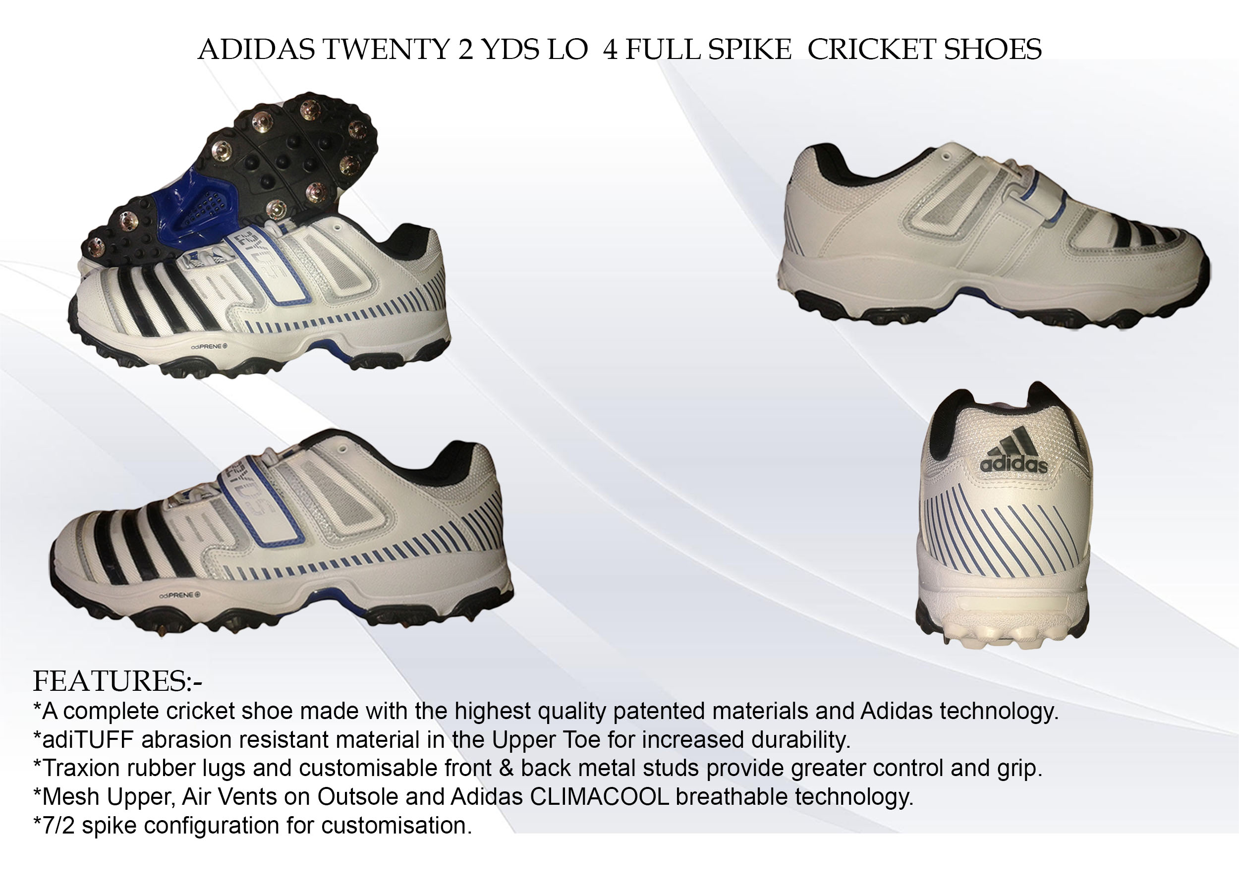 ADIDAS TWENTY 2YDS LO 4 FULL SPIKE CRICKET