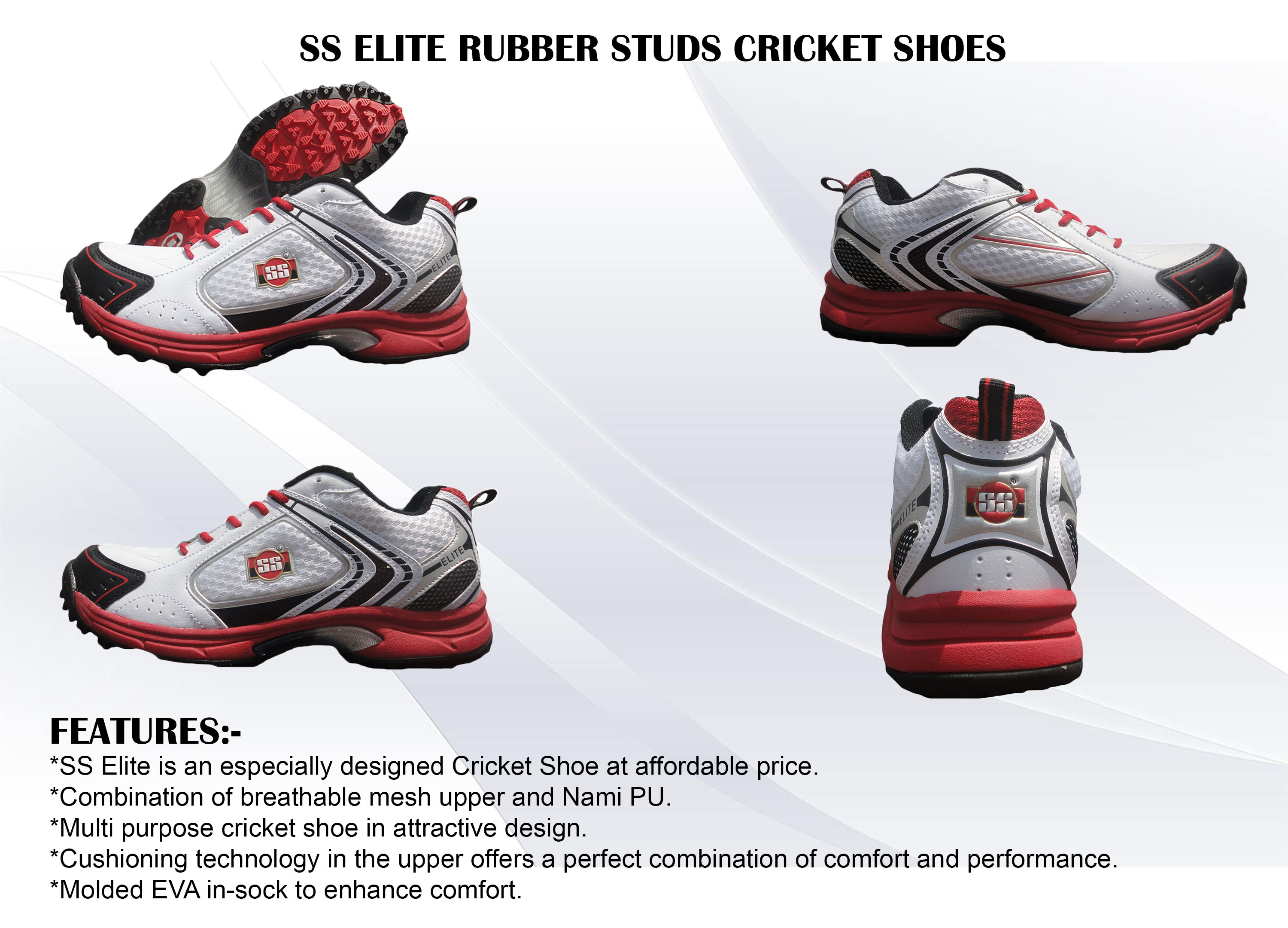SS ELITE RUBBER STUDS CRICKET SHOES