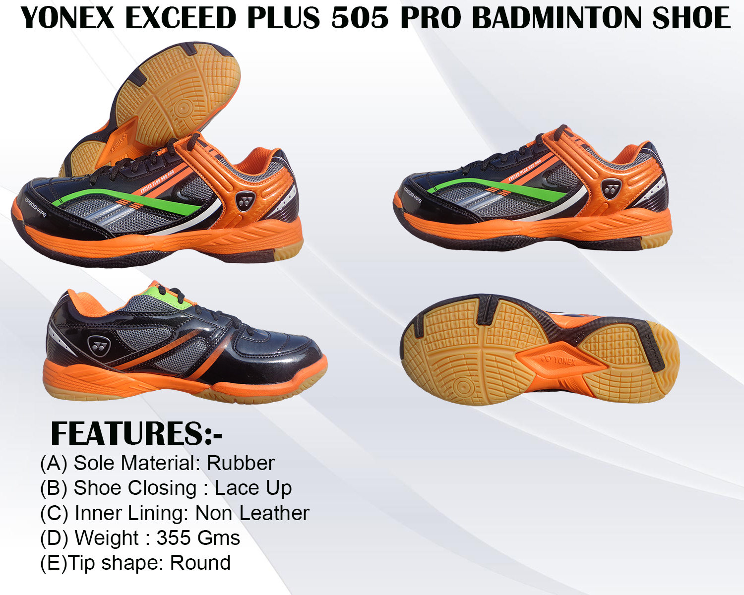 Yonex Exceed Plus 505 Pro Badminton Shoe Black and Orange