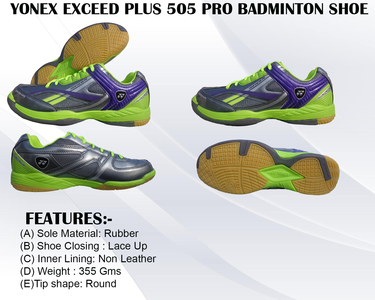 Yonex Exceed Plus 505 Pro Green Badminton Shoe Green and Grey