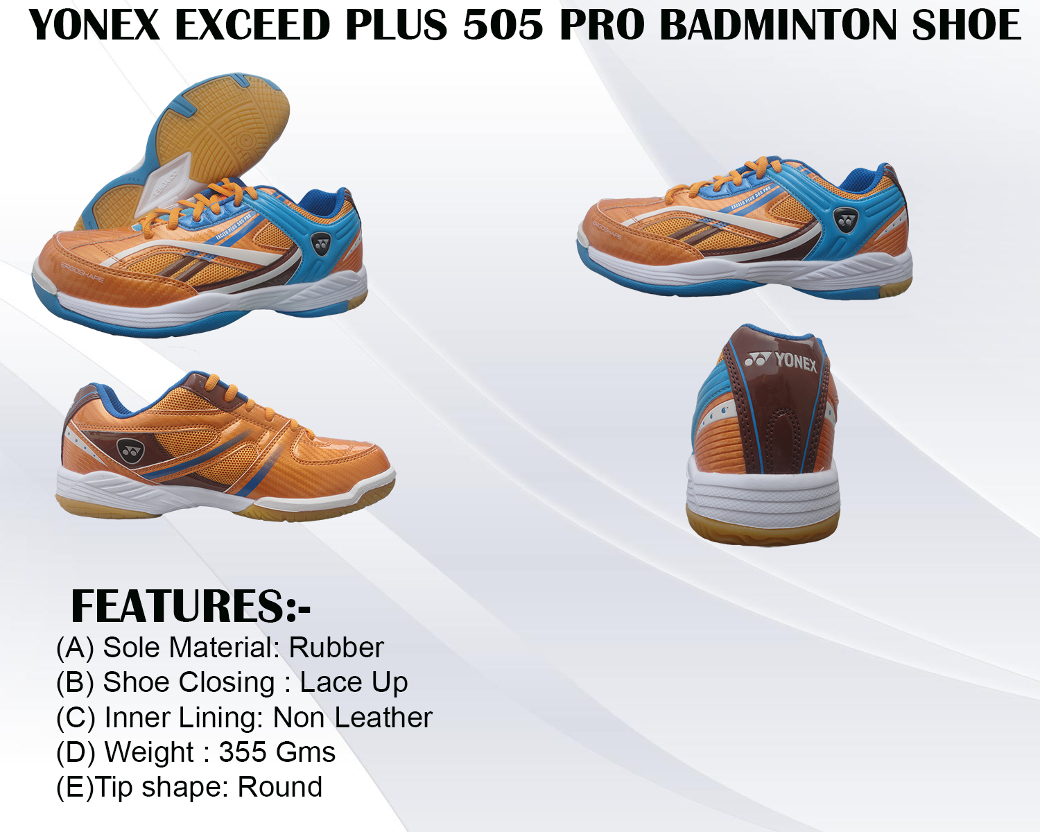 Yonex Exceed Plus 505 Pro Badminton Shoe Yellow and sky blue