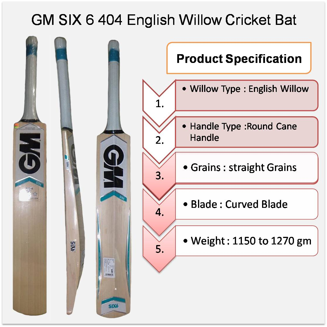 GM SIX 6 404 English Willow Cricket Bat
