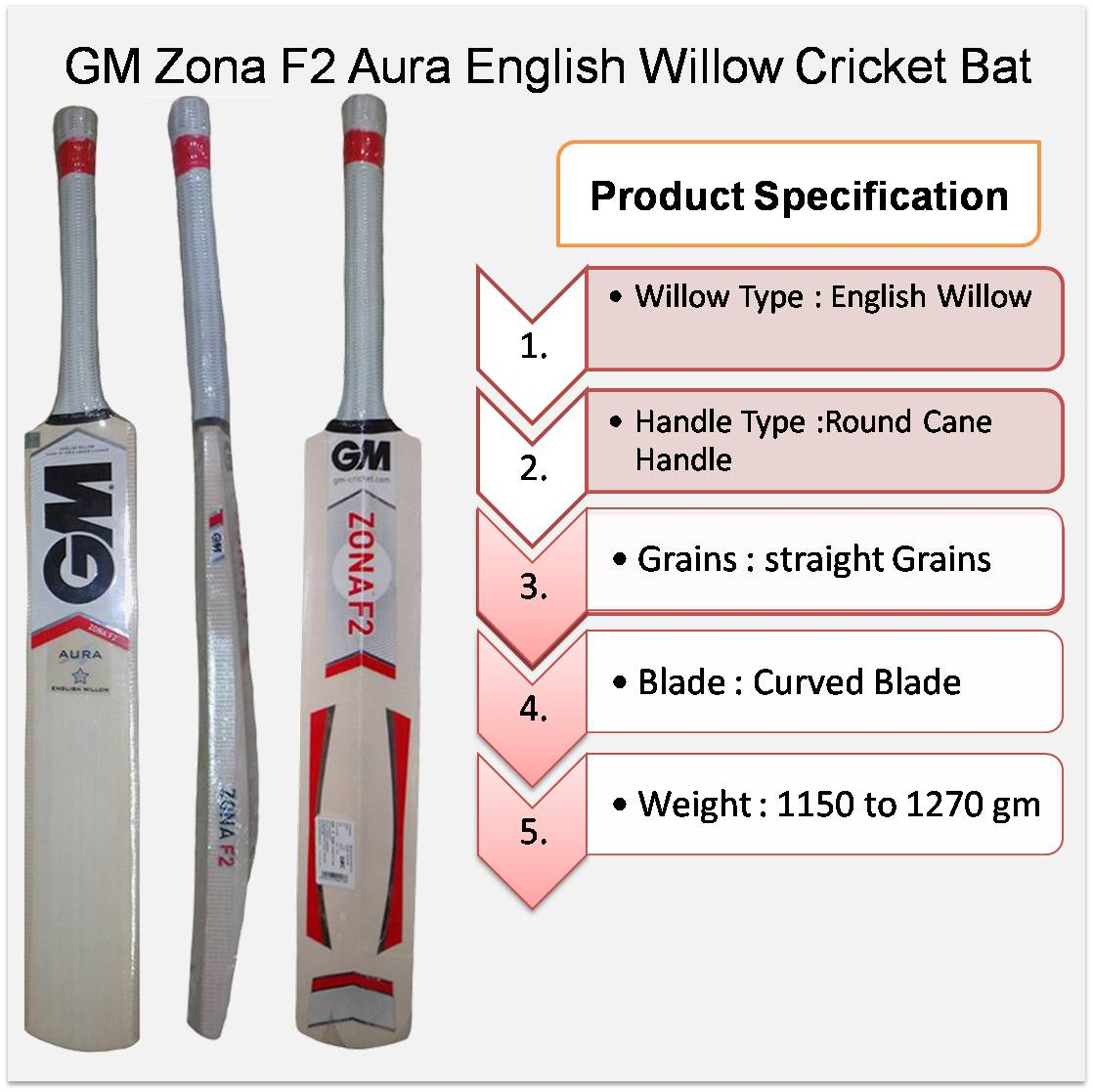 GM Zona F2 Aura English Willow Cricket Bat