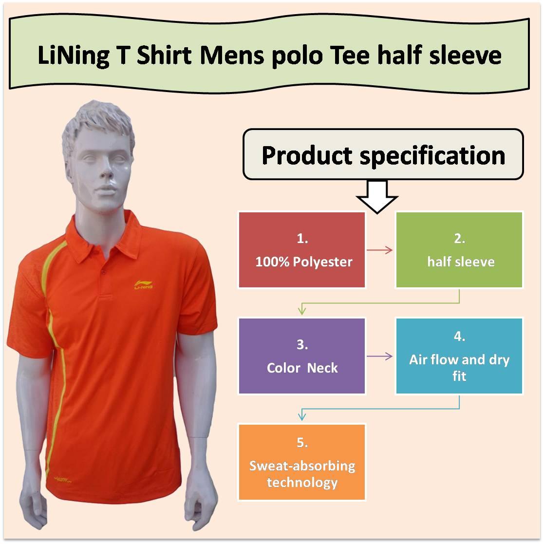 LiNing T Shirt Mens polo Tee half sleeve Orange