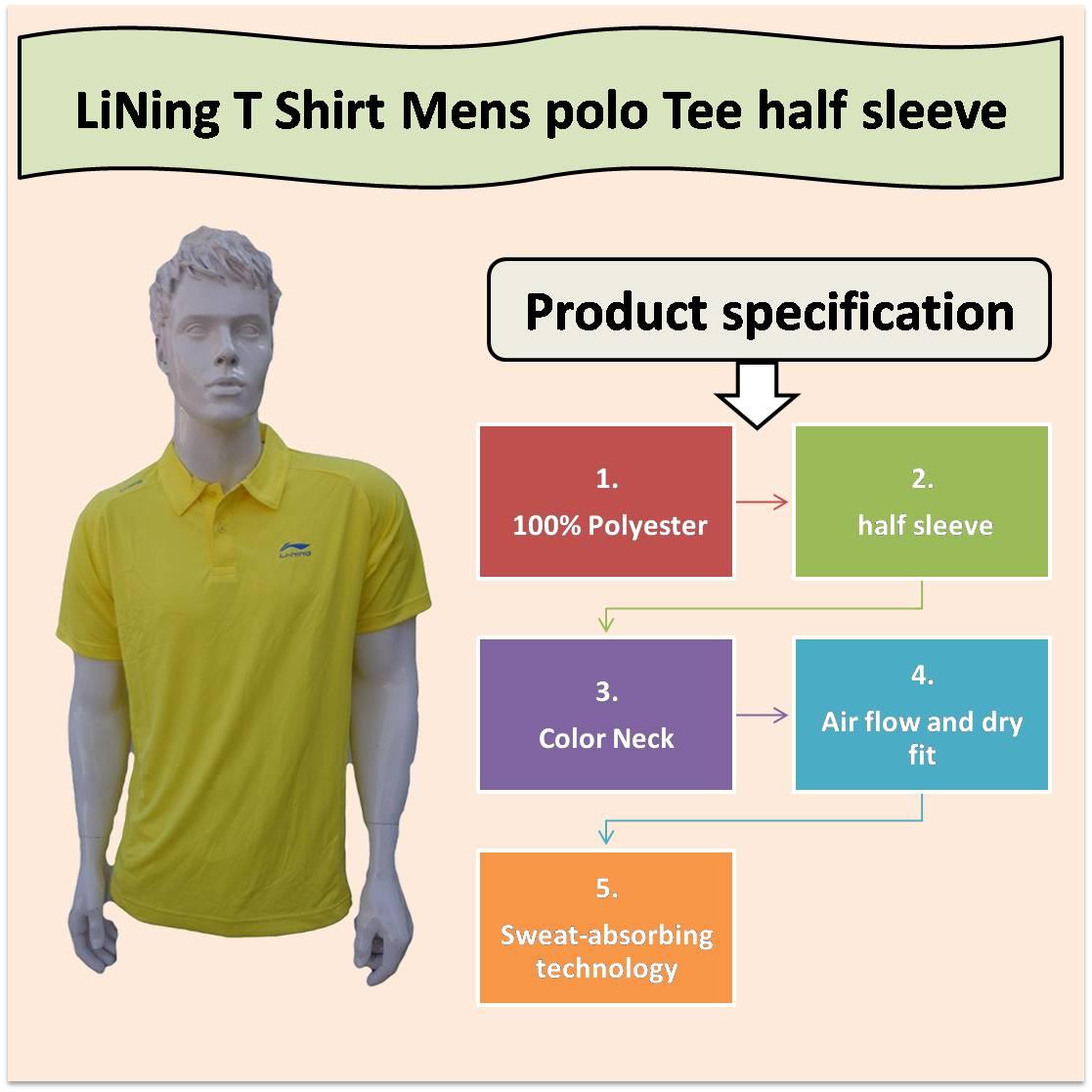 LiNing T Shirt Mens polo Tee half sleeve